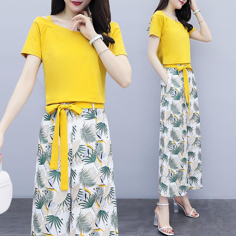 Đồ Suits Quần ống rộng nước ngoài phù hợp với nữ 2019 hè mới thời trang Hàn Quốc phiên bản ngắn tay