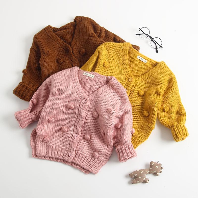 Angou Áo dệt kim trẻ em Mùa thu và mùa đông mới bé đan áo len đan cho bé 3-6-9 tháng áo len top hand