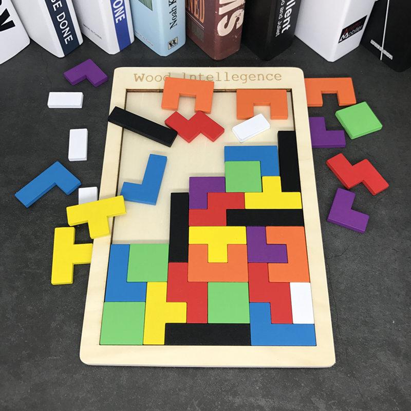 Bộ đồ chơi rút gỗ Khối xây dựng bằng gỗ Tetris Câu đố Nam và Nữ Trí thông minh Phát triển trí não Đồ