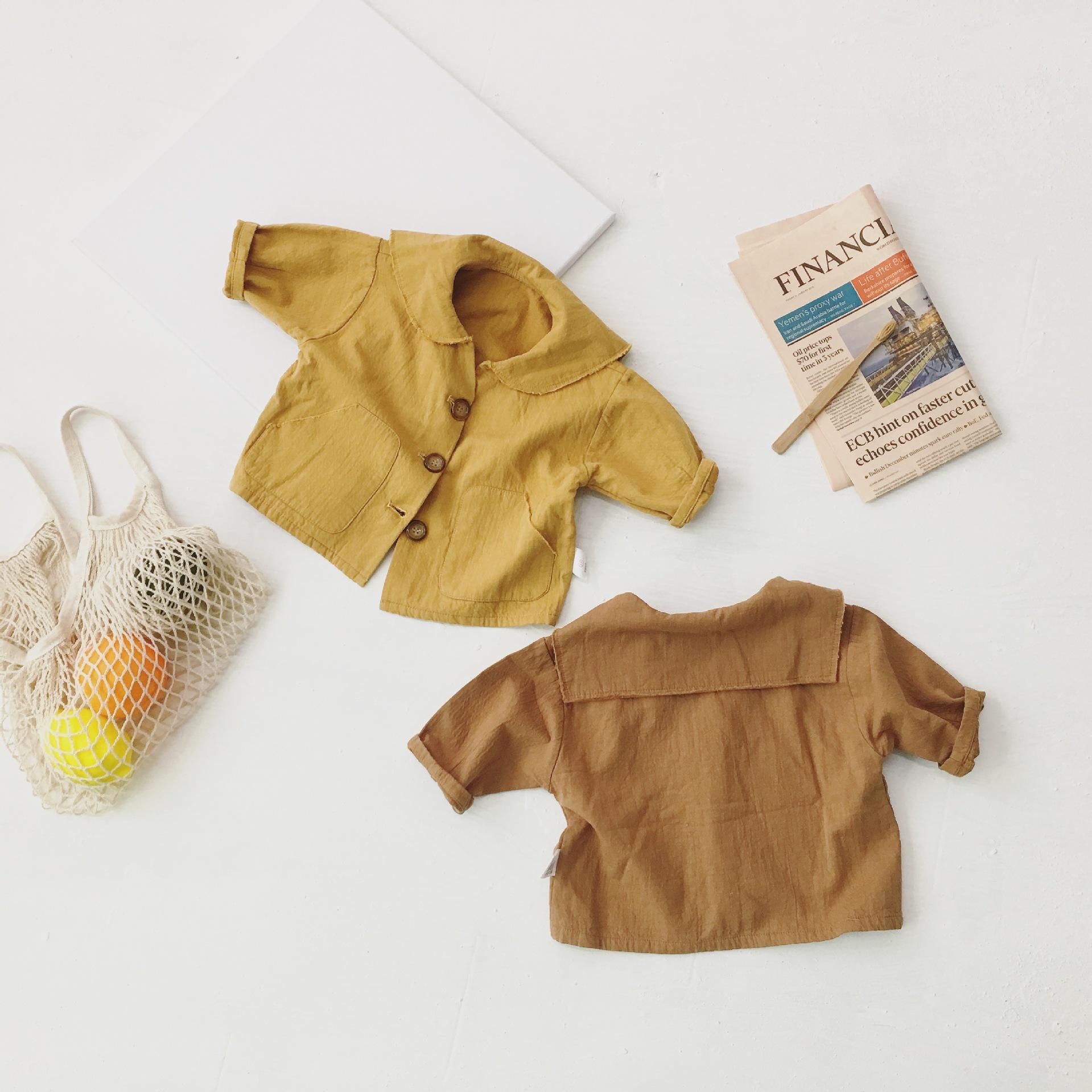 Q2-Baby Áo khoác trẻ em Mùa xuân 2019 phiên bản Hàn Quốc mới của bé trai retro ve áo đơn áo ngực trẻ