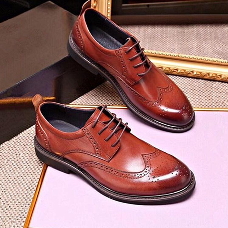 Giày cô dâu Giày cưới cao cấp cho nam Giày công sở Châu Âu 2019 da mới Bullock khắc giày công sở