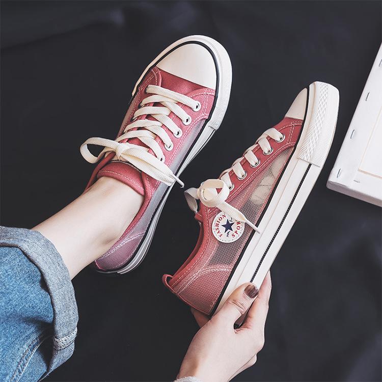 Thị trường giày nữ Giày thủy triều giày vải thoáng khí nữ 2019 hè mới lưới openwork giày nữ giày lướ