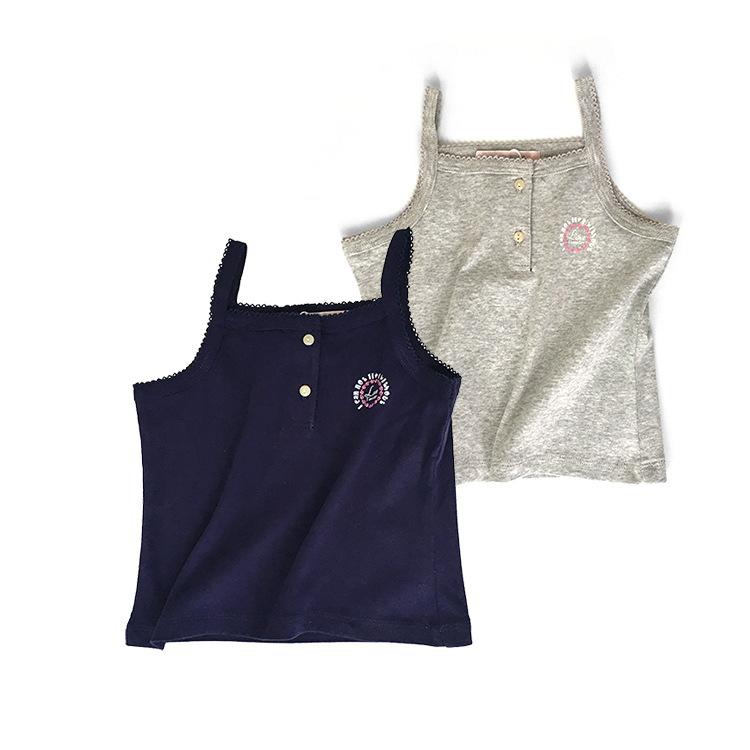 Áo ba lỗ / Áo hai dây trẻ em Đuôi quầy hàng nữ bé màu rắn dây buộc ngọn bé gái nhỏ áo cotton mùa hè