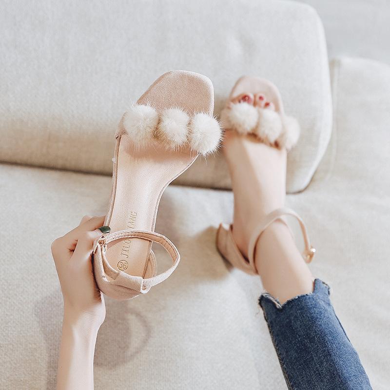JIUGULIANG Giày FuJian Dép nữ mùa hè 2019 mới cao gót hoang dã dày có khóa từ đêm khuya với gió thần