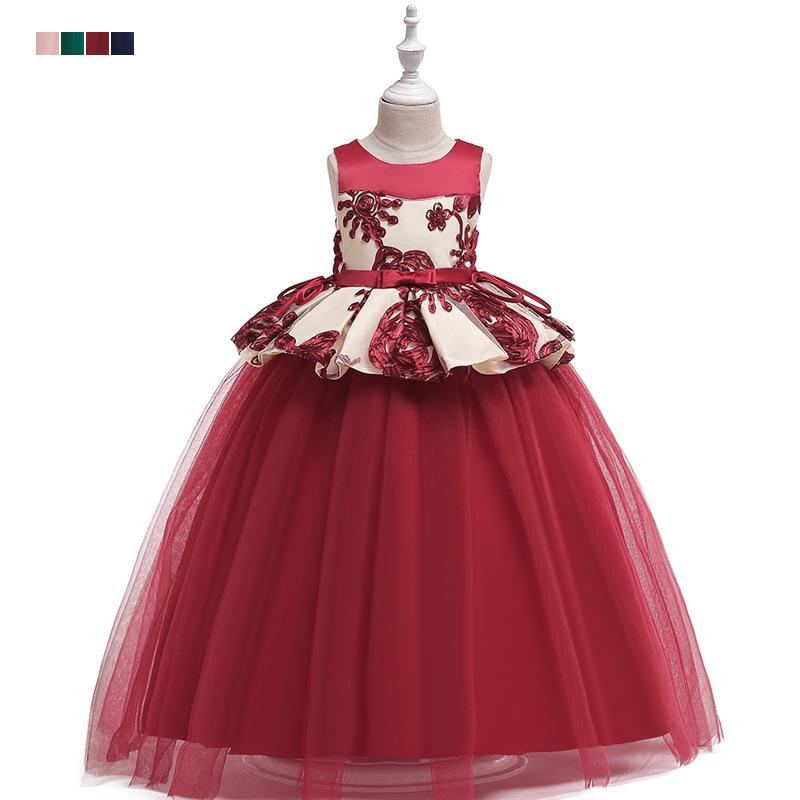 PLBBFZ Trang phục dạ hôi trẻ em Cô gái áo dài 2019 Trẻ em châu Âu và Mỹ lau váy cưới eo trong chiếc