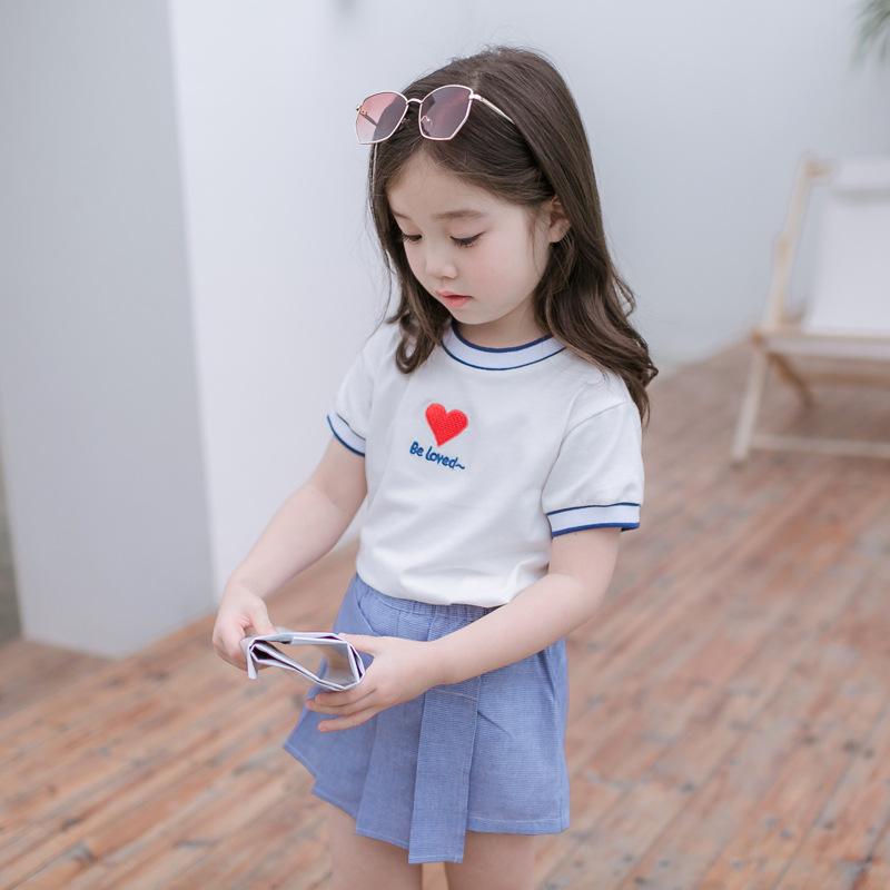 Cicie Phong cách Hàn Quốc Quần áo trẻ em mới 2019 set áo Hàn Quốc cho bé vừa và nhỏ tay áo thun ngắn