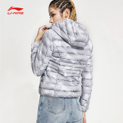 Lót nỉ Soflshell Li Ning short down jacket women's new sports fashion warm casual hooded pink winte