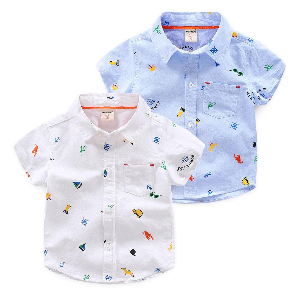 Xiailebaby Áo Sơ-mi trẻ em Mùa hè mới 2019 bé trai hoang dã áo sơ mi hoa trẻ em 1-3 tuổi cotton bé Q