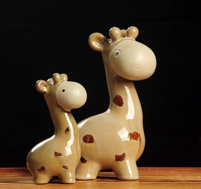 KUNYAO Đồ trang trí bằng gốm sứ Bán buôn cá tính sáng tạo thủ công lò gốm men men mẹ con hươu thủ cô