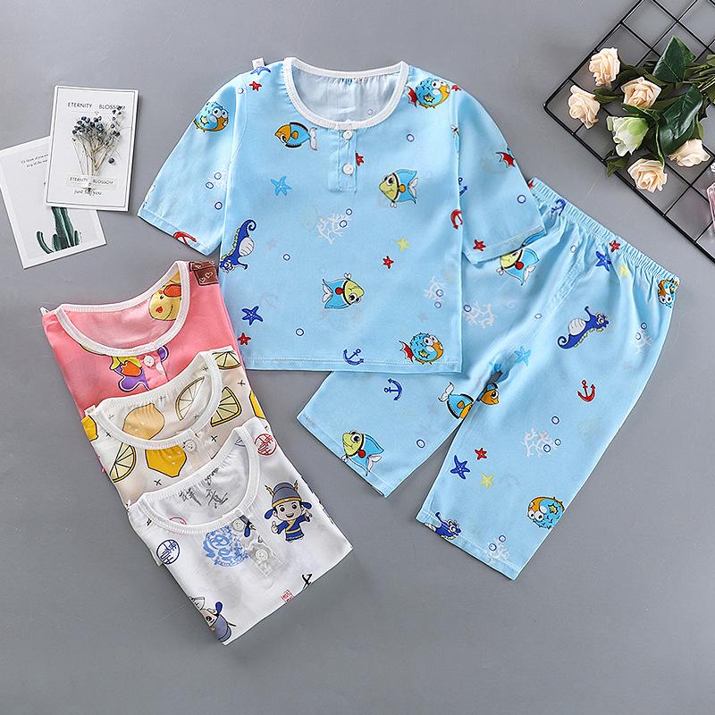 TUOHAN Đồ ngủ trẻ em Mùa hè mới trẻ em bộ đồ ngủ bằng lụa cotton cho bé trai Bộ đồ ngủ bằng lụa cott