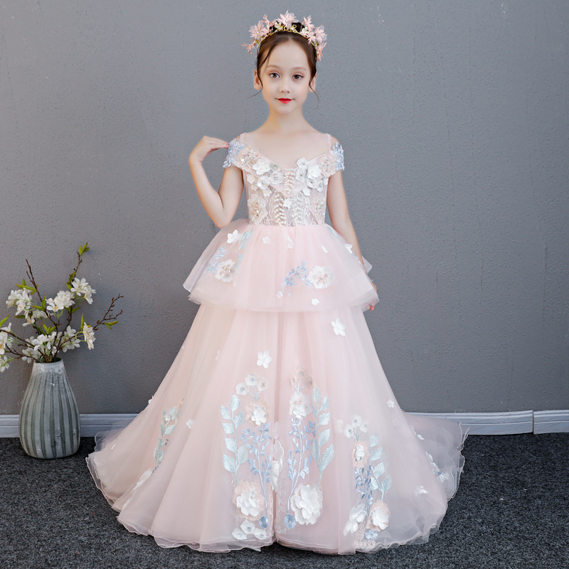 Trang phục dạ hôi trẻ em Váy catwalk cho bé gái mẫu đầm dạ hội cao cấp 2019 mới lạ váy cưới công chú