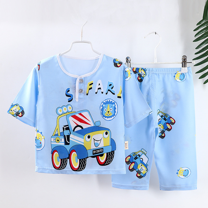 Đồ ngủ trẻ em Bộ đồ ngủ trẻ em bằng lụa cotton mùa hè cho bé trai và bé gái Bộ đồ ngủ bằng vải cotto