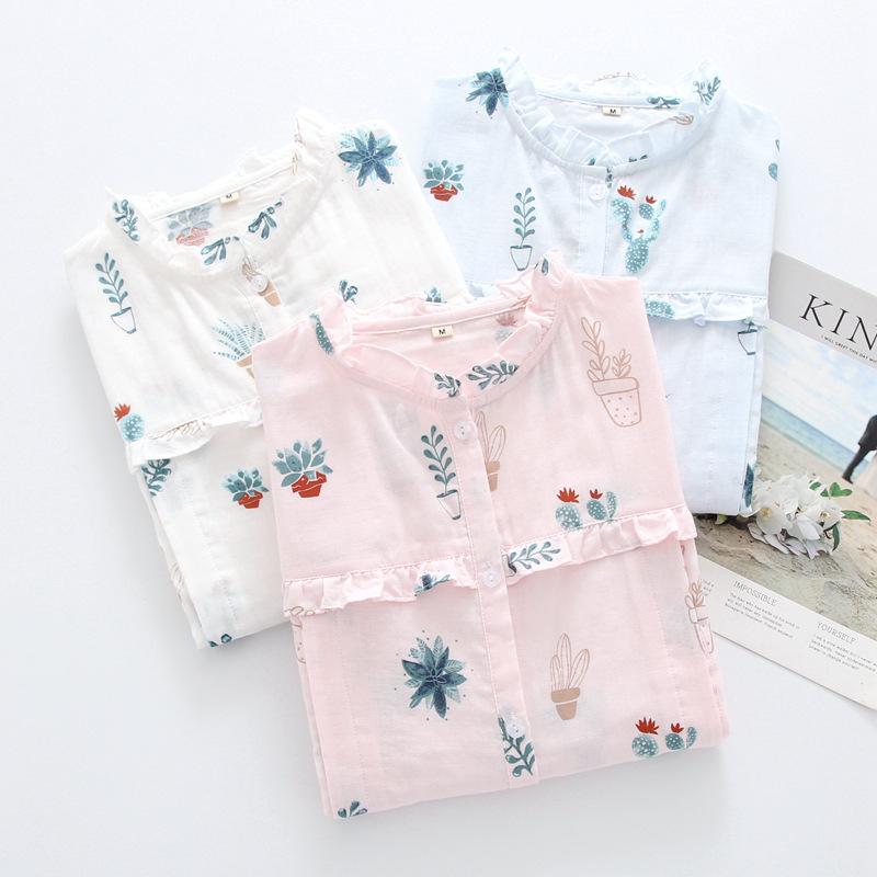 Trang phục trong tháng (sau sinh) Mùa xuân và tháng hè quần áo cotton đôi gạc mỏng phần sau sinh kíc