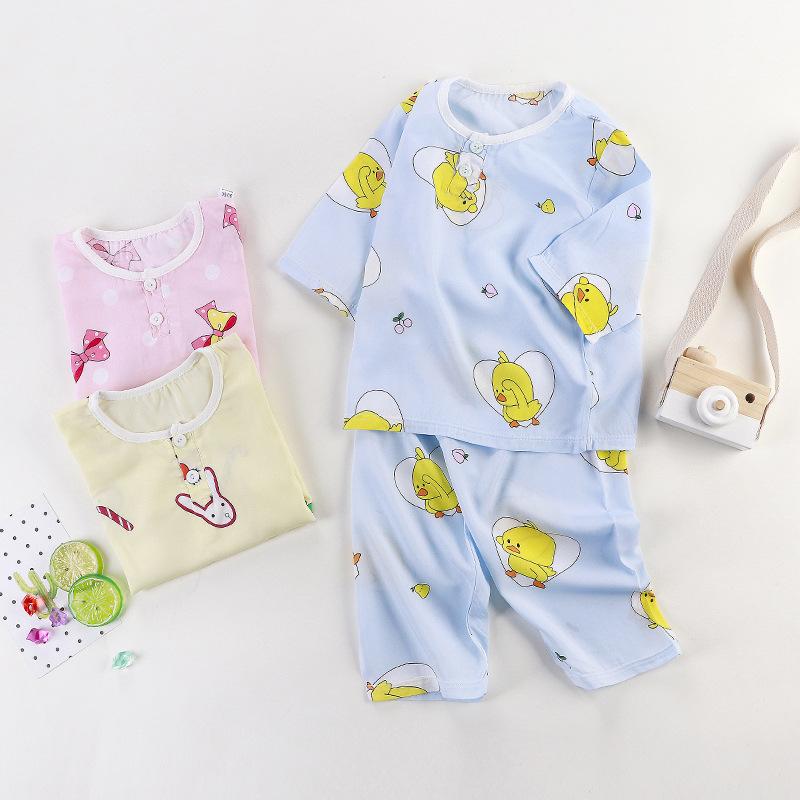HUANXITU Đồ ngủ trẻ em Bộ đồ cotton cotton phù hợp với điều hòa mùa hè Bộ đồ ngủ cotton mỏng cho bé