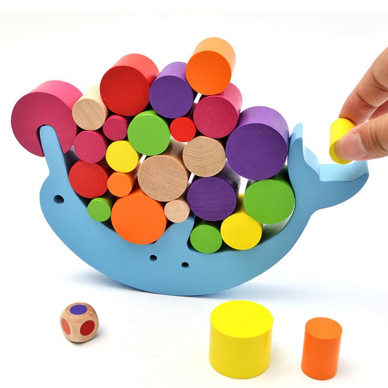 Bộ đồ chơi rút gỗ Khối cân bằng cá heo Trò chơi LZK12 Trẻ em xếp gỗ Đồ chơi cao Câu đố Tham quan học
