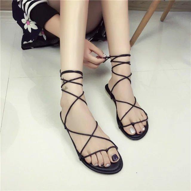 XINYUE thắt dây Châu Âu và Hoa Kỳ giày mới ngón chân bằng phẳng quai chéo với giày La Mã dép nữ size