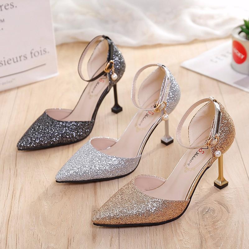 Giày cô dâu Giày thể thao nữ sandal Giày cưới đính sequin cổ tích nhỏ mèo stiletto và giày phù dâu v