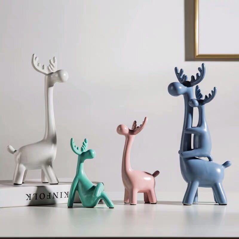 LELE Đồ trang trí bằng gốm sứ Gốm sáng tạo, thủ công động vật nhỏ, đồ trang trí hươu, trang trí nhà,