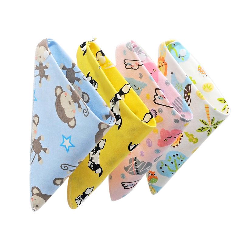 ANQIWWA Khăn yếm Một em bé Qiwa in hình tam giác khăn hai lớp hoạt hình trẻ em yếm yếm khăn bông nướ