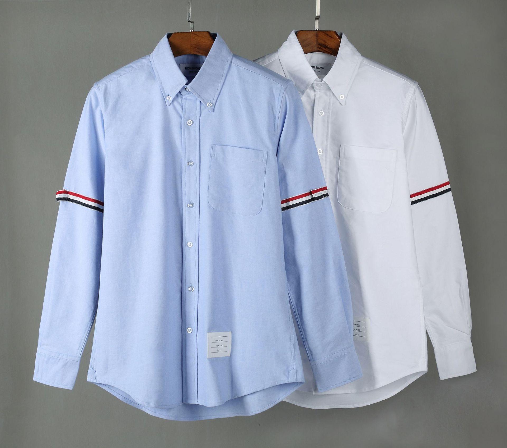 THOAABROYYNE tay dài Tb áo sơ mi thương hiệu oxford tay áo dài tay đôi webbing châu Âu và Mỹ giản dị
