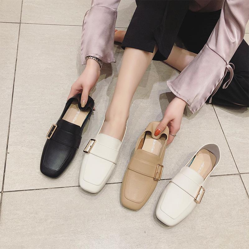 LUMANNI Giày Loafer / giày lười Giày nhỏ Lumani của phụ nữ một chân hai mang mùa xuân và mùa thu mới