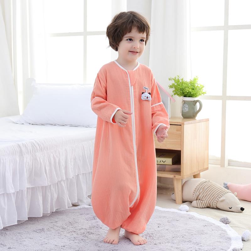 BUZHITONG Túi ngủ trẻ em Trẻ sơ sinh chân túi ngủ Cây nhuộm đôi gạc bông rửa có thể cởi tay áo túi n