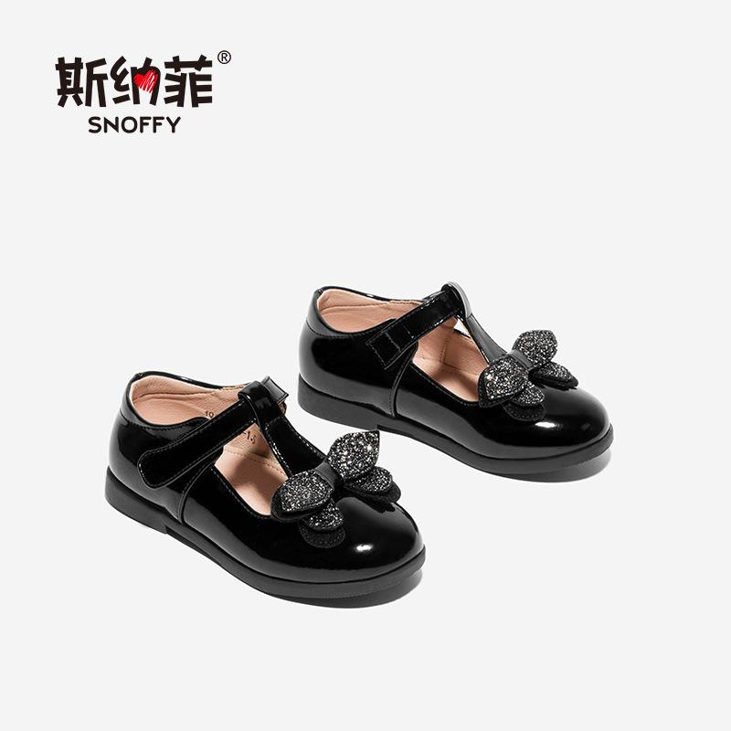 Snoffy Giày trẻ em Hot Giày trẻ em Snaf 2019 mùa xuân Giày nữ Velcro nơ da đính sequin giày dép trẻ