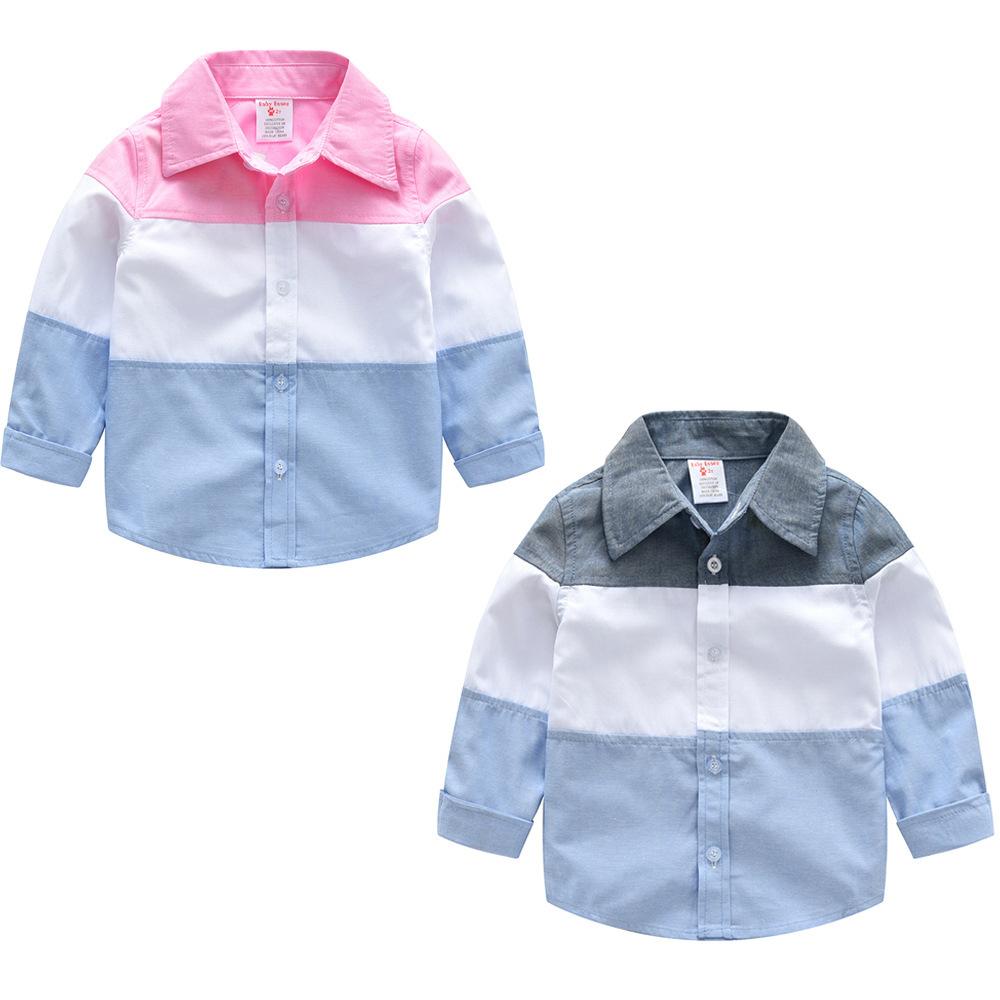 Áo Sơ-mi trẻ em Mùa thu 2018 Amazon quần áo trẻ em trai đẹp trai áo sơ mi dài tay tương phản áo sơ m