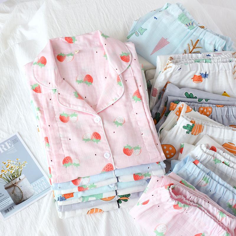 YRHM Trang phục trong tháng (sau sinh) Tháng quần áo mùa hè mỏng phần sau bộ đồ ngủ bà bầu cotton gạ