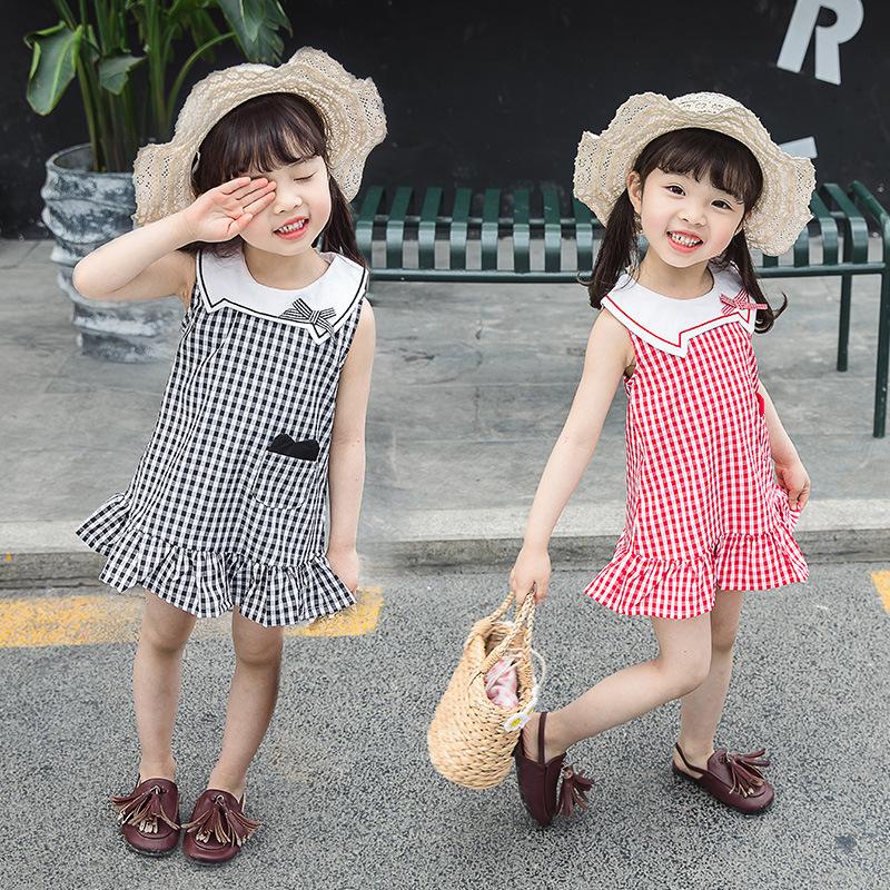 Đầm váy trẻ em Váy bé gái hè 2019 xu hướng thời trang mới thời trang Hàn Quốc phiên bản búp bê cổ áo