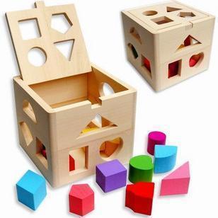 DOM Đồ giảng dạy trẻ sơ sinh Đồ chơi giáo dục bằng gỗ Đồ chơi trẻ em Mười ba lỗ hình hộp thông minh