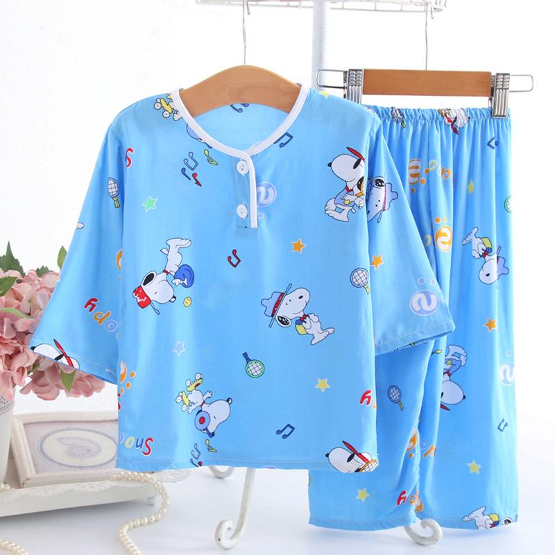BANGBANGXING Đồ ngủ trẻ em Bộ đồ ngủ trẻ em 2019 cotton lụa phù hợp với quần áo dài tay cho bé trai