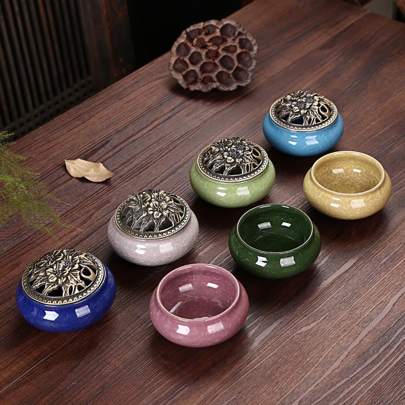Lư hương Ge Kiln đá nứt lò nung với đĩa cổ đốt nhang đồng bao gồm hợp kim lò hương liệu lò đốt nhang