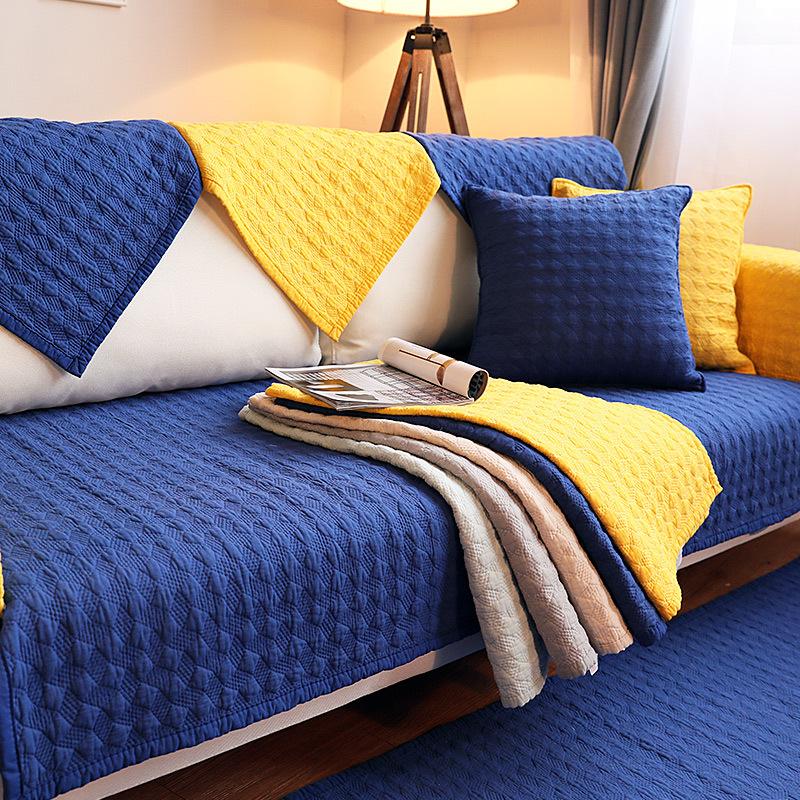 Đệm massage Bốn mùa đệm sofa bông màu rắn Bắc Âu đệm sofa hiện đại chống trượt vải bông sofa đệm