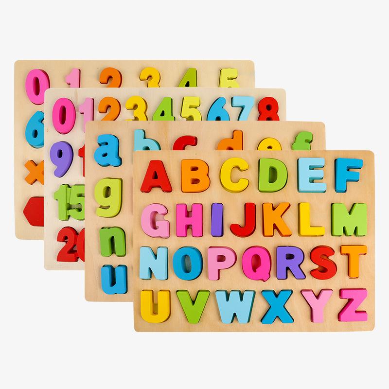 CSLF Bộ đồ chơi rút gỗ Khối lập phương chữ số kỹ thuật số khối xây dựng ba chiều câu đố đồ chơi bằng