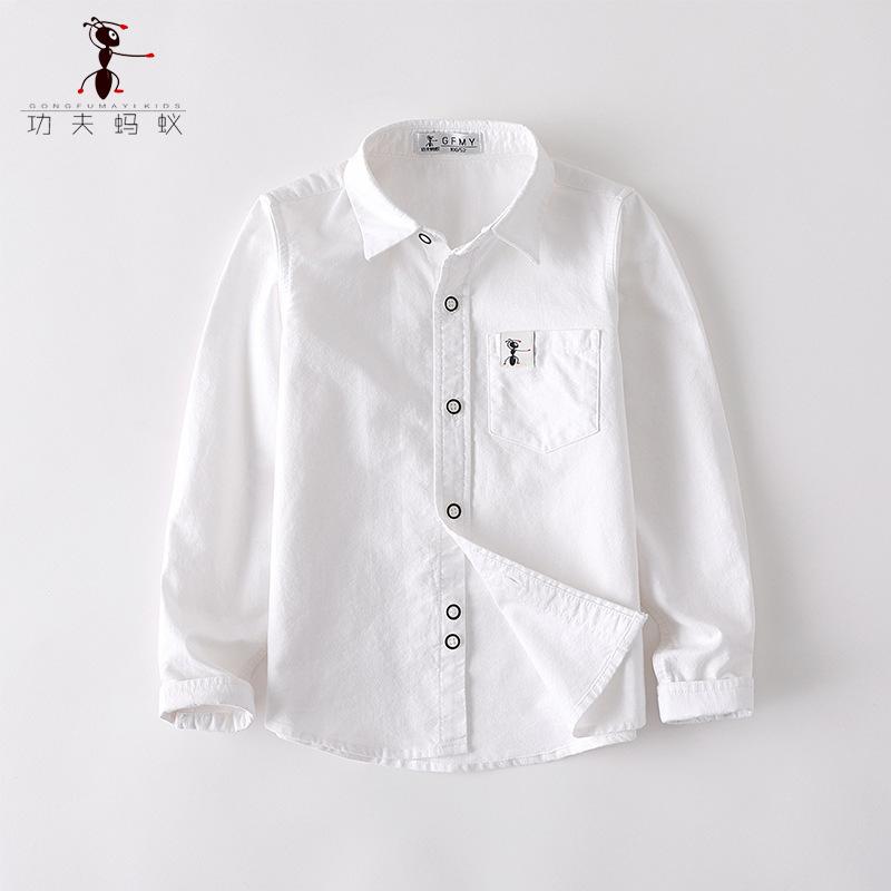 GFMY Áo Sơ-mi trẻ em Mùa thu trai mới áo sơ mi trắng tay dài cotton oxford quay trẻ em sơ mi cotton