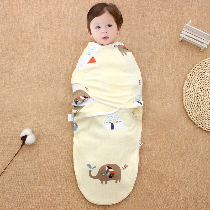 TANGMISHU Khăn quấn Baby cotton ôm túi khăn lau trẻ sơ sinh dây kéo túi ngủ Baby ôm chăn mùa xuân và