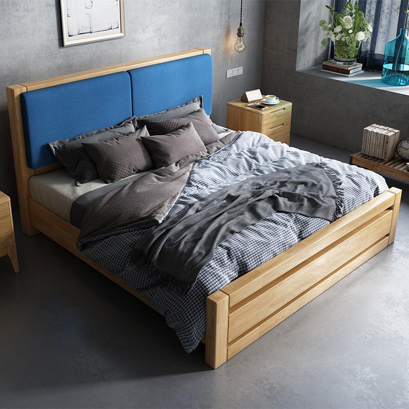 ZHUOMU Nội thất Giường ngủ gỗ sồi Bắc Âu trẻ em 1,2 đơn 1,5 công chúa 1,8 m đầu giường lớn đôi giườn