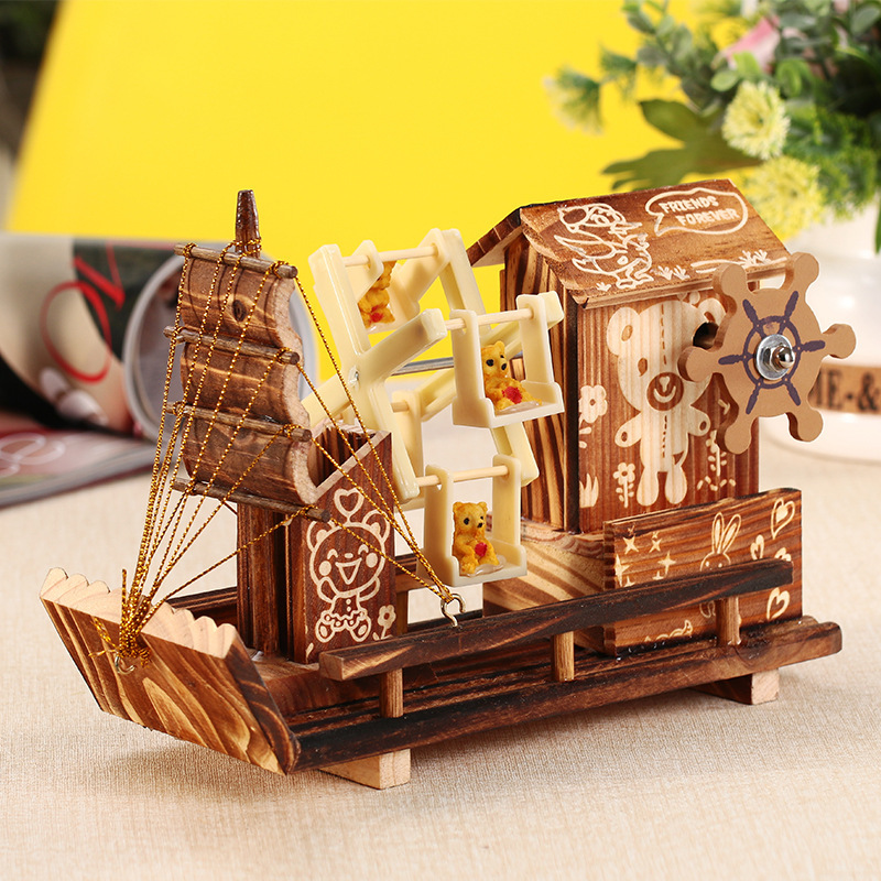 RUNTING Đồ trang trí bằng gỗ Thủ công bằng gỗ cối xay gió Nhà gỗ chèo thuyền xoay nhạc hộp Sáng tạo