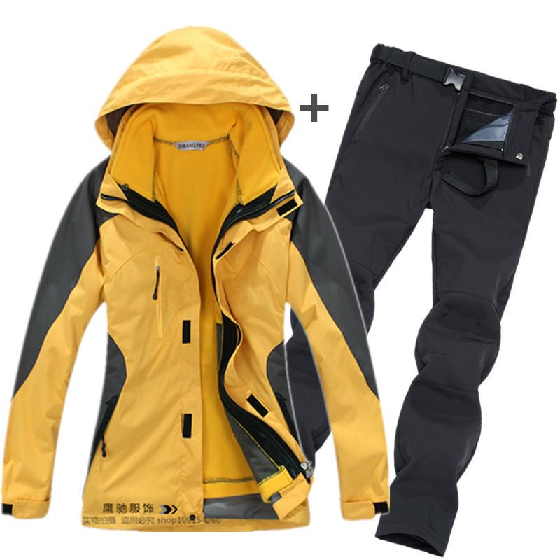 Quần áo leo núi Quần áo ngoài trời mùa đông cặp đôi quần áo cho nam và nữ ba trong một cộng với nhun