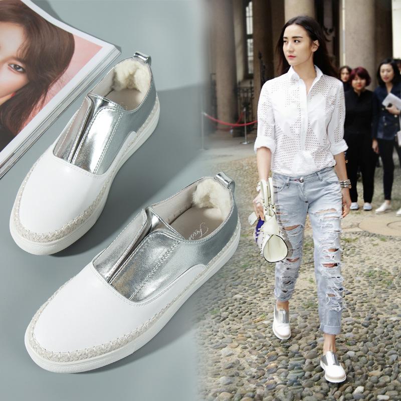 Giày Loafer / giày lười Giày 2018 nhỏ màu trắng mới Giày da đế bằng Giày nữ Giày thông thường Giày n