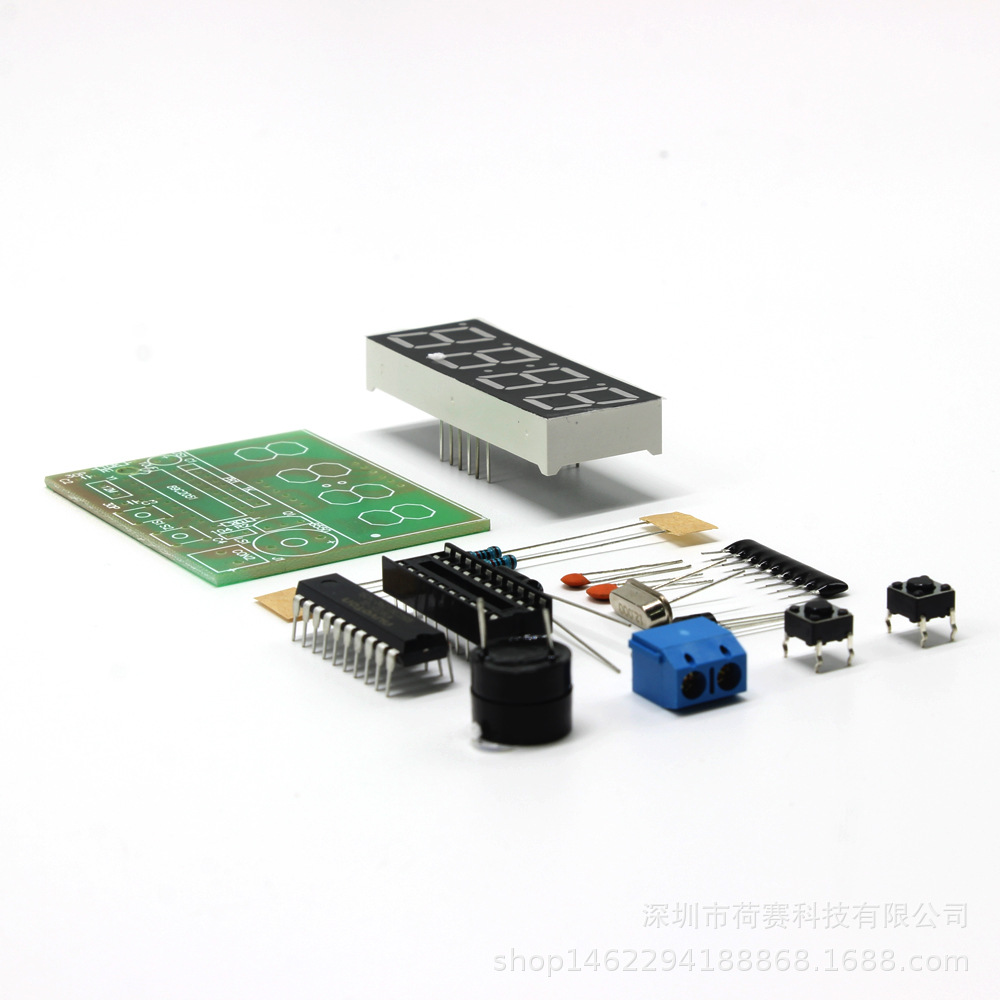 HESAI Đồ điện tử Đồng hồ kỹ thuật số 4 chữ số Đồng hồ kỹ thuật số đơn chip Đồng hồ kỹ thuật số bốn c