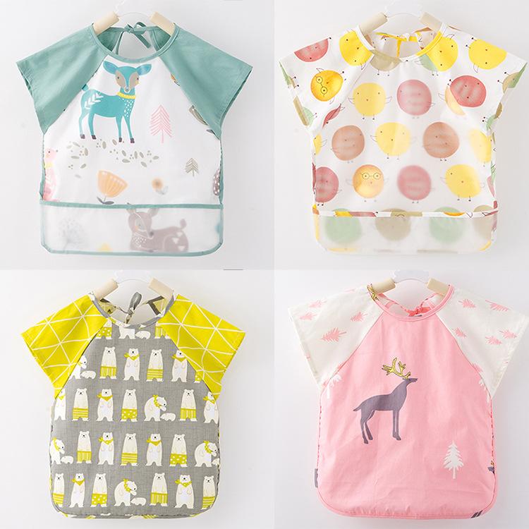 Áo khoác Bé cotton mới ăn ngắn tay mùa hè mỏng bé bé không thấm nước tạp dề chống đầm yếm không tay