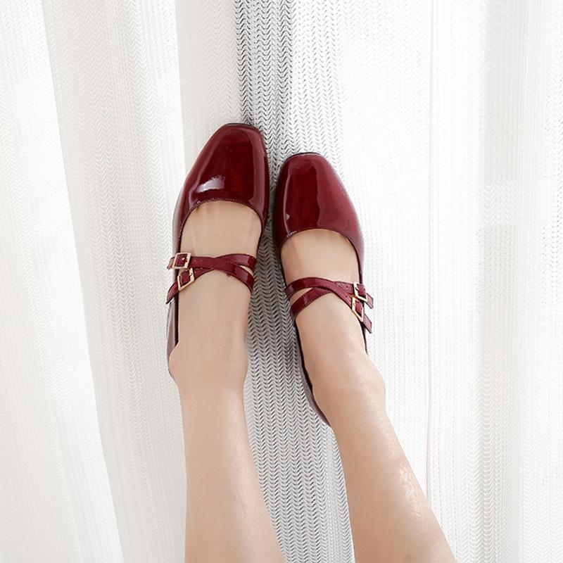 HUAMUYU Giày FuJian Mùa xuân và mùa thu mới 2019 Giày Mary Jane đầu vuông retro với khóa cao gót già