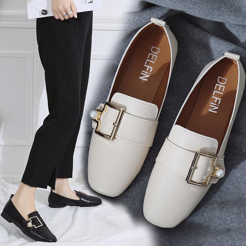 Giày Loafer / giày lười Mùa thu 2018 mới hoang dã phiên bản Hàn Quốc của giày Lok Fu đậu Hà Lan giày