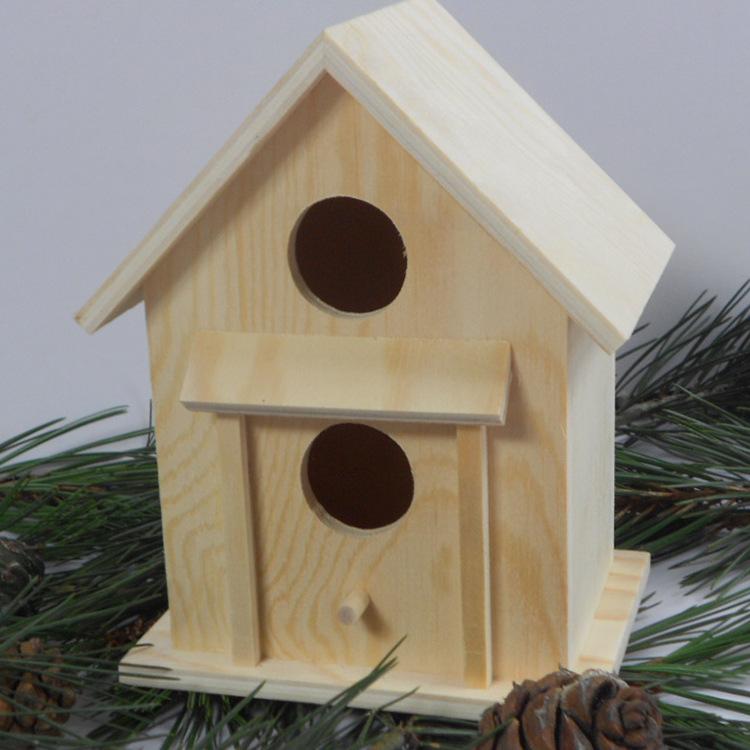 JIAMENG Đồ trang trí bằng gỗ Gỗ thông chim nhà heo đất phim hoạt hình gỗ chim yến thủ công chế biến