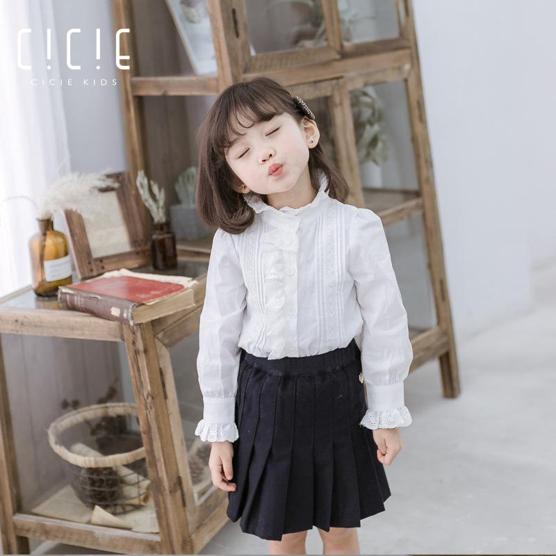 Cicie Áo Sơ-mi trẻ em Mùa thu mới 2019 quần áo trẻ em cotton một thế hệ bé gái áo sơ mi dài tay búp