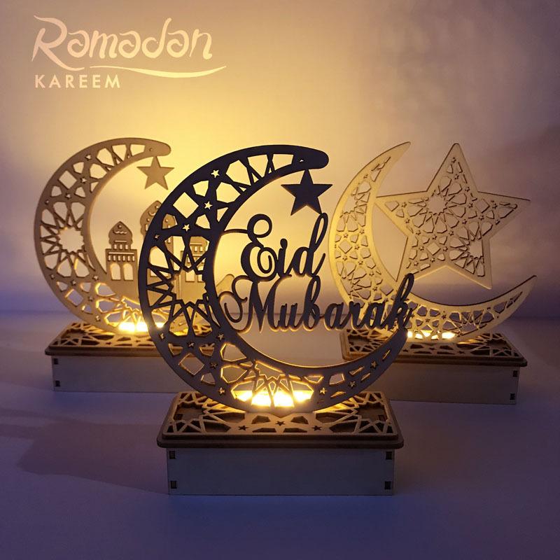 JIACAI Đồ trang trí bằng gỗ Mới bằng gỗ DIY Hồi giáo Hồi giáo LED Eid Mubarak EidMubarak trang trí q