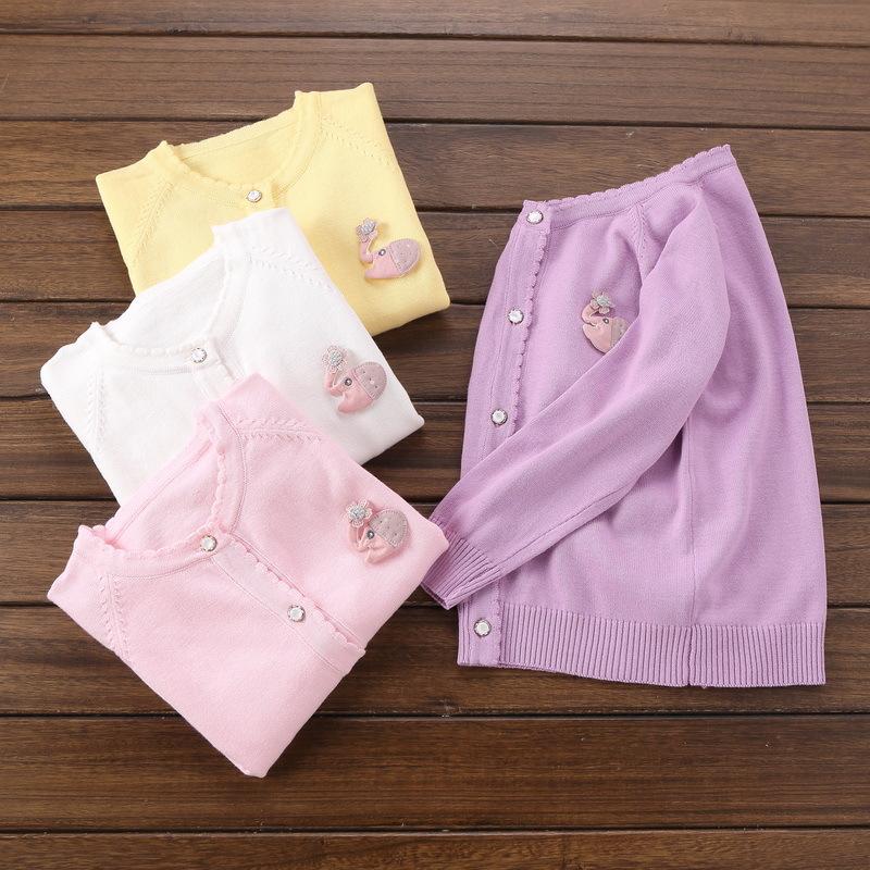 Áo dệt kim trẻ em Mùa xuân 2019 quần áo trẻ em trẻ em cotton đan áo len nữ áo len cổ tròn màu rắn