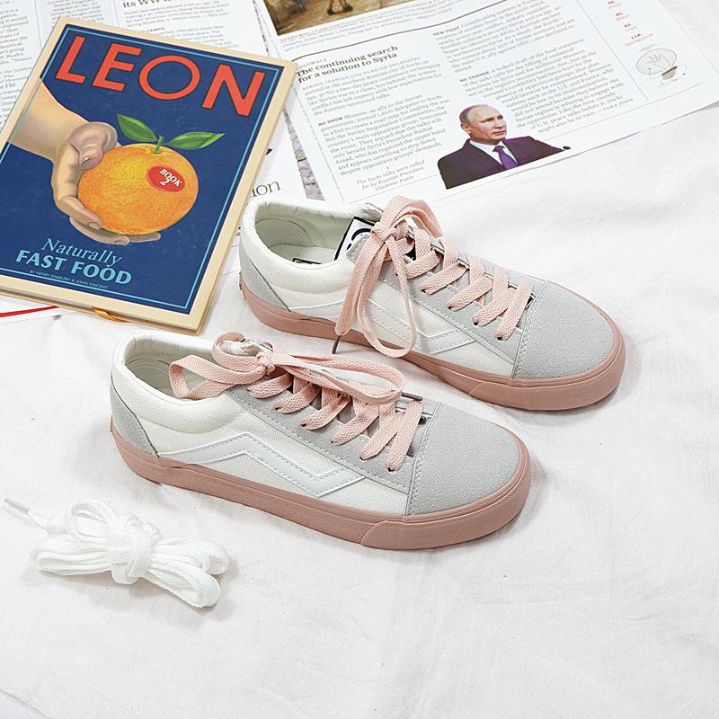 YUANBO Thị trường giày nữ Giày vải buộc sóng mùa xuân 2019 cho nữ sinh viên Hàn Quốc phiên bản Hàn Q